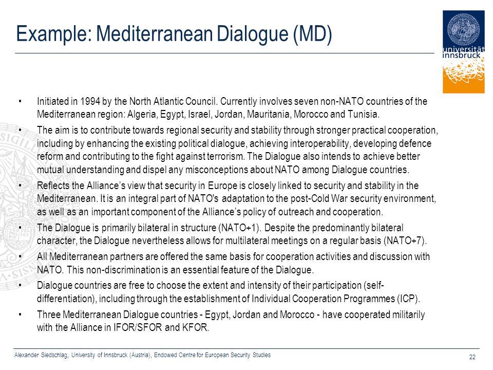 Alexander Siedschlag, University of Innsbruck (Austria), Endowed Centre for European Security Studies 22 Example: Mediterranean Dialogue (MD) Initiate