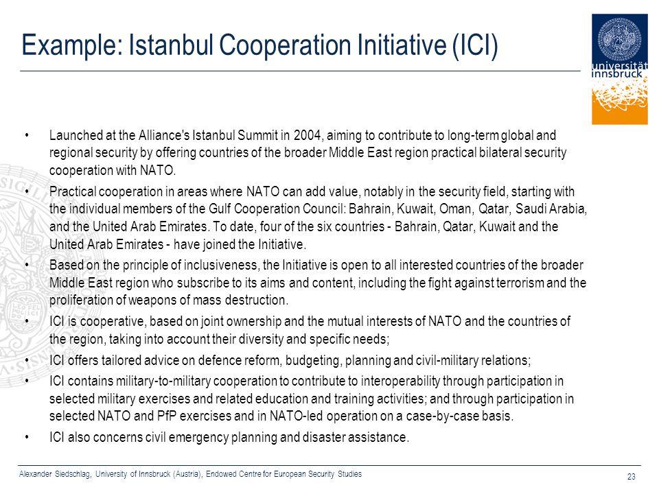 Alexander Siedschlag, University of Innsbruck (Austria), Endowed Centre for European Security Studies 23 Example: Istanbul Cooperation Initiative (ICI