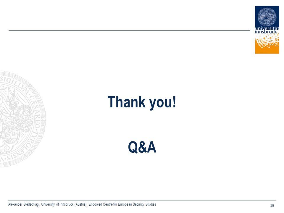 Alexander Siedschlag, University of Innsbruck (Austria), Endowed Centre for European Security Studies 26 Thank you! Q&A