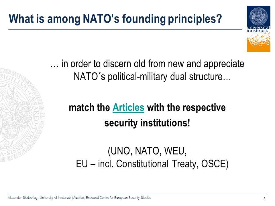Alexander Siedschlag, University of Innsbruck (Austria), Endowed Centre for European Security Studies 8 What is among NATO's founding principles? … in
