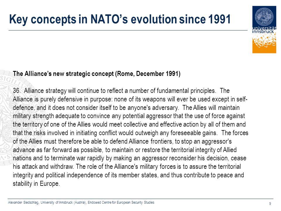 Alexander Siedschlag, University of Innsbruck (Austria), Endowed Centre for European Security Studies 9 Key concepts in NATO's evolution since 1991 Th