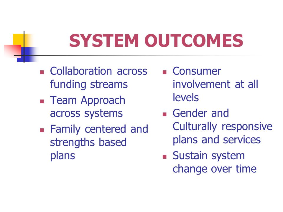SYSTEM OUTCOMES Collaboration across funding streams Team Approach across systems Family centered and strengths based plans Consumer involvement at all levels Gender and Culturally responsive plans and services Sustain system change over time