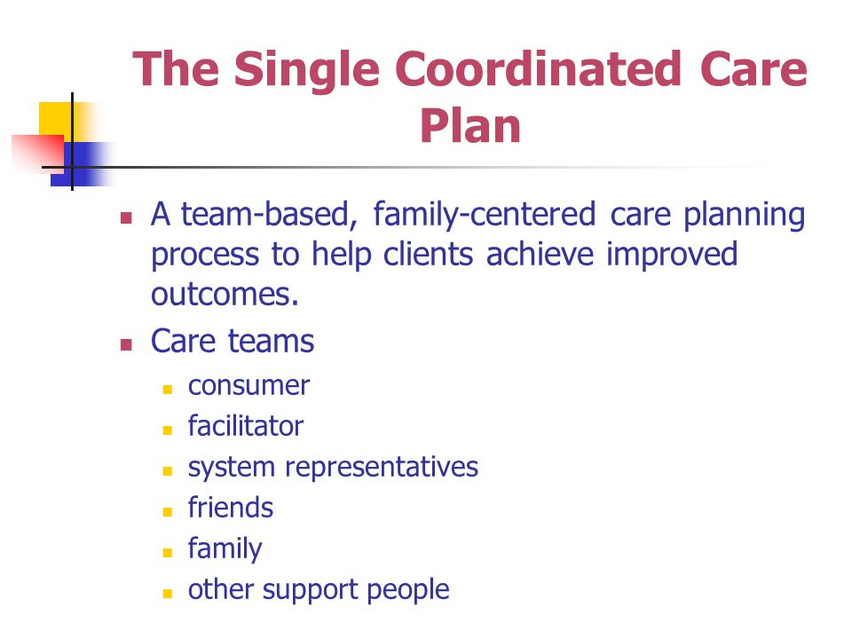 The Single Coordinated Care Plan A team-based, family-centered care planning process to help clients achieve improved outcomes.
