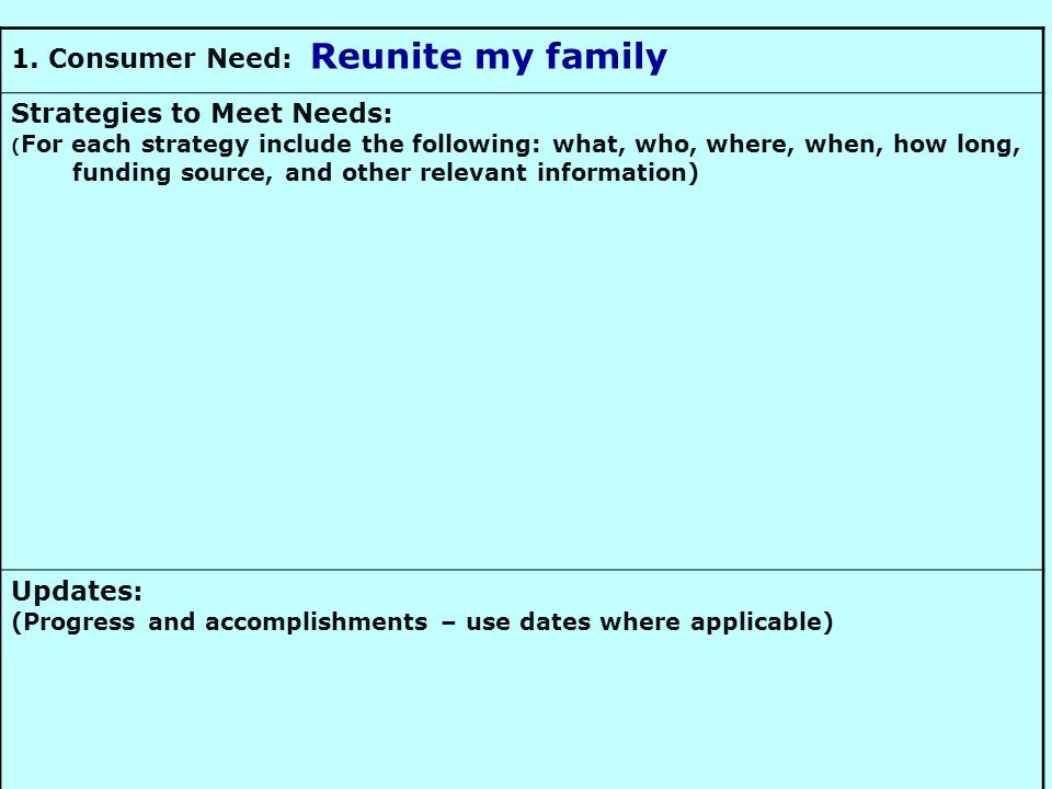 1. Consumer Need: Reunite my family Strategies to Meet Needs: ( For each strategy include the following: what, who, where, when, how long, funding sou