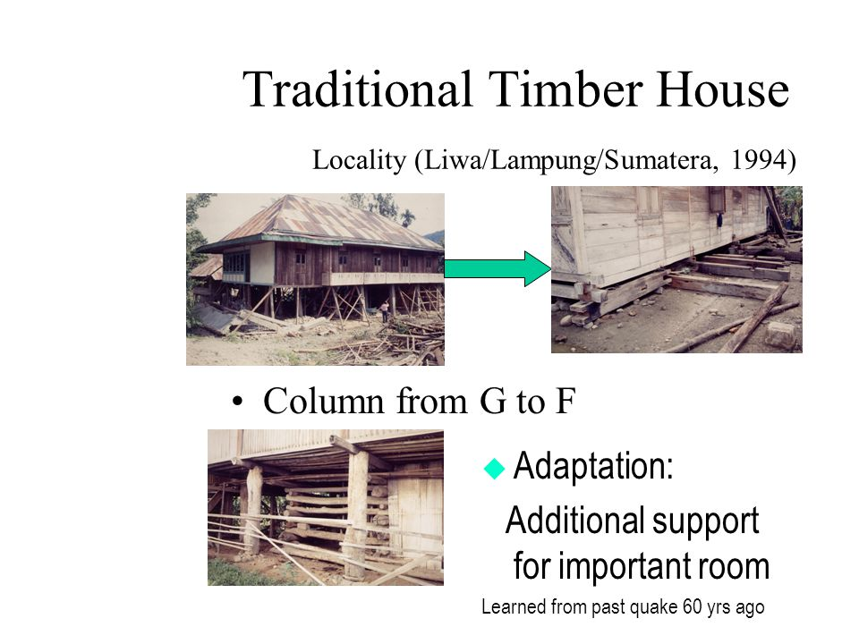 Traditional Timber House Locality (Liwa/Lampung/Sumatera, 1994) Column from G to F  Adaptation: Additional support for important room Learned from past quake 60 yrs ago