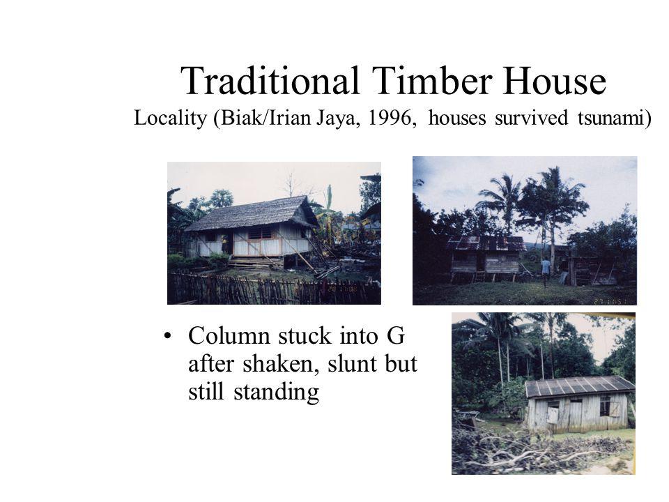 Traditional Timber House Locality (Biak/Irian Jaya, 1996, houses survived tsunami) Column stuck into G after shaken, slunt but still standing