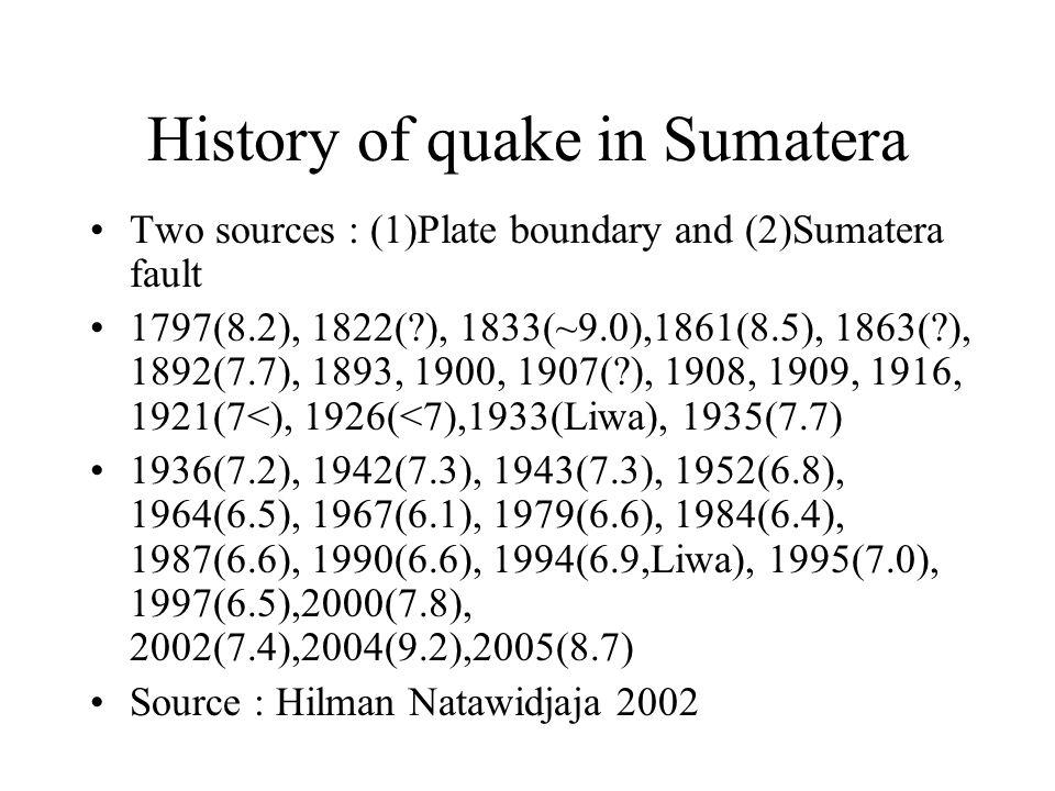 History of quake in Sumatera Two sources : (1)Plate boundary and (2)Sumatera fault 1797(8.2), 1822(?), 1833(~9.0),1861(8.5), 1863(?), 1892(7.7), 1893, 1900, 1907(?), 1908, 1909, 1916, 1921(7<), 1926(<7),1933(Liwa), 1935(7.7) 1936(7.2), 1942(7.3), 1943(7.3), 1952(6.8), 1964(6.5), 1967(6.1), 1979(6.6), 1984(6.4), 1987(6.6), 1990(6.6), 1994(6.9,Liwa), 1995(7.0), 1997(6.5),2000(7.8), 2002(7.4),2004(9.2),2005(8.7) Source : Hilman Natawidjaja 2002