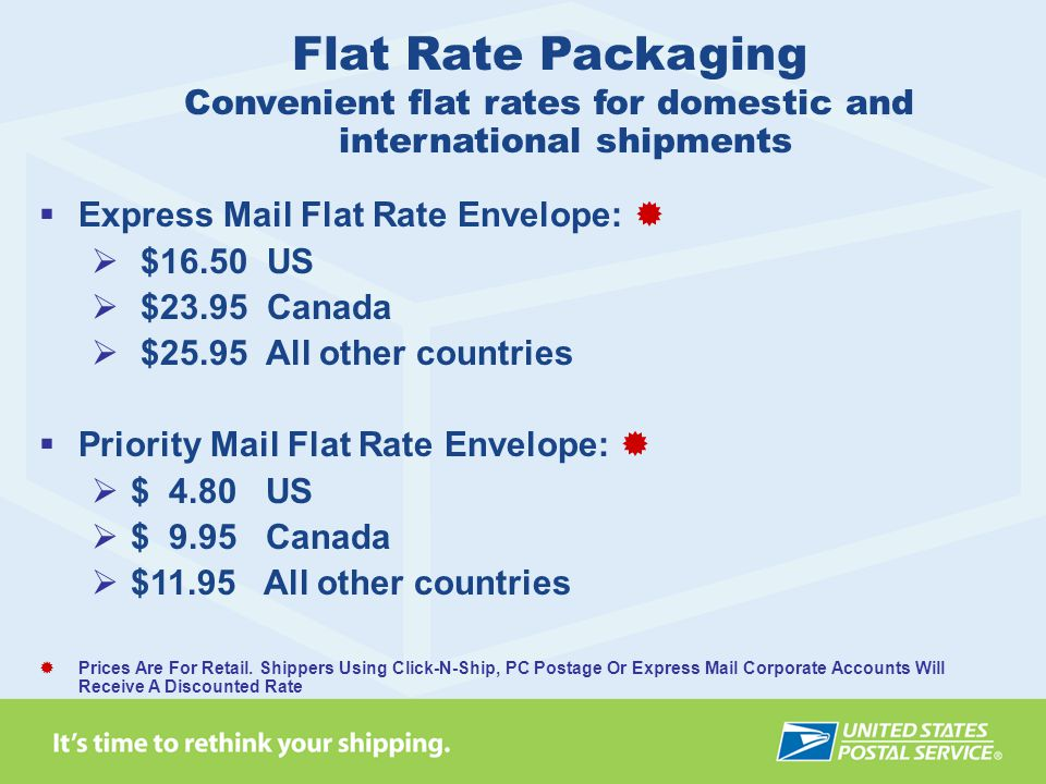  Express Mail Flat Rate Envelope:   $16.50 US  $23.95 Canada  $25.95 All other countries  Priority Mail Flat Rate Envelope:   $ 4.80 US  $ 9.95 Canada  $11.95 All other countries  Prices Are For Retail.