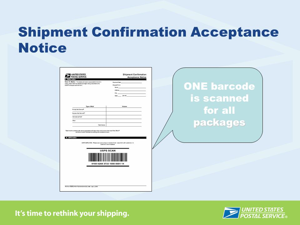 ONE barcode is scanned for allpackages Shipment Confirmation Acceptance Notice