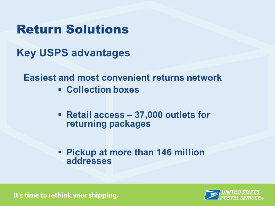 Key USPS advantages Easiest and most convenient returns network  Collection boxes  Retail access – 37,000 outlets for returning packages  Pickup at more than 146 million addresses Return Solutions