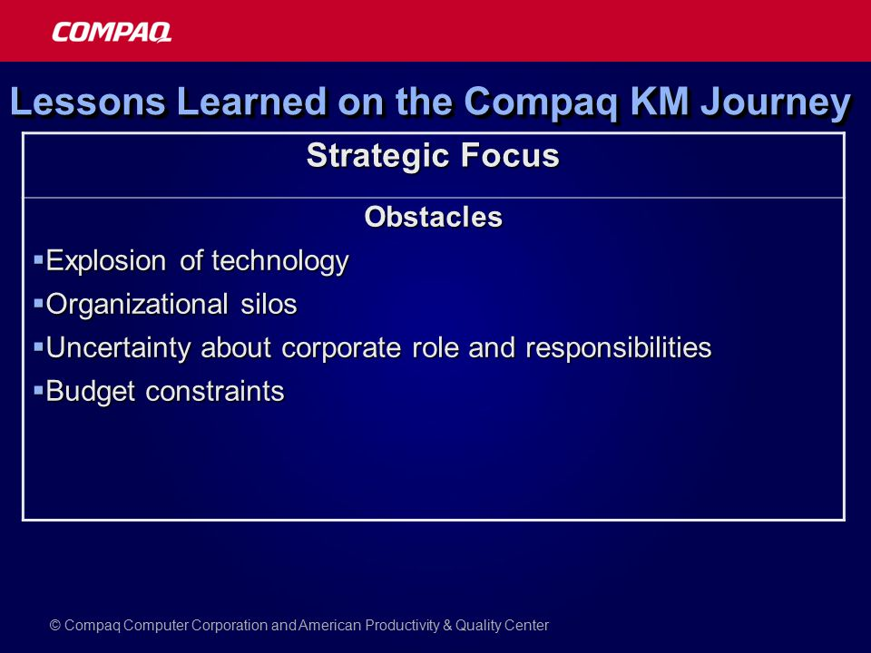 Lessons Learned on the Compaq KM Journey Strategic Focus Obstacles  Explosion of technology  Organizational silos  Uncertainty about corporate role and responsibilities  Budget constraints © Compaq Computer Corporation and American Productivity & Quality Center