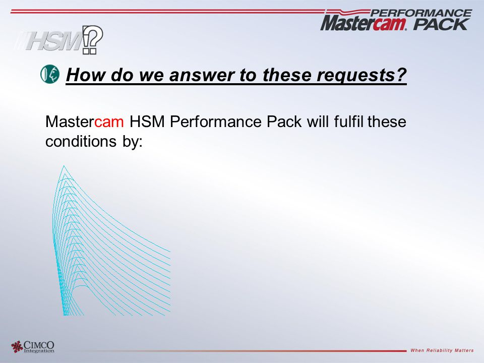 Mastercam HSM Performance Pack will fulfil these conditions by: How do we answer to these requests