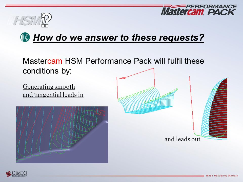 Generating smooth and tangential leads in and leads out How do we answer to these requests? Mastercam HSM Performance Pack will fulfil these condition