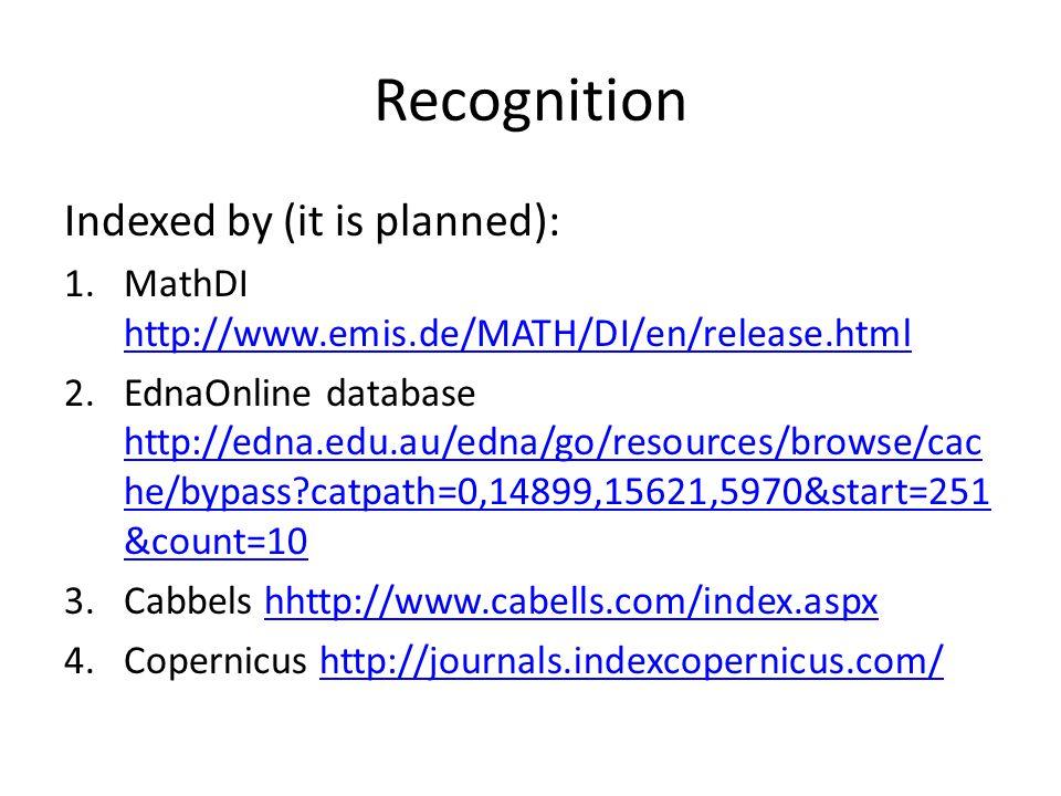 Recognition Indexed by (it is planned): 1.MathDI http://www.emis.de/MATH/DI/en/release.html http://www.emis.de/MATH/DI/en/release.html 2.EdnaOnline da