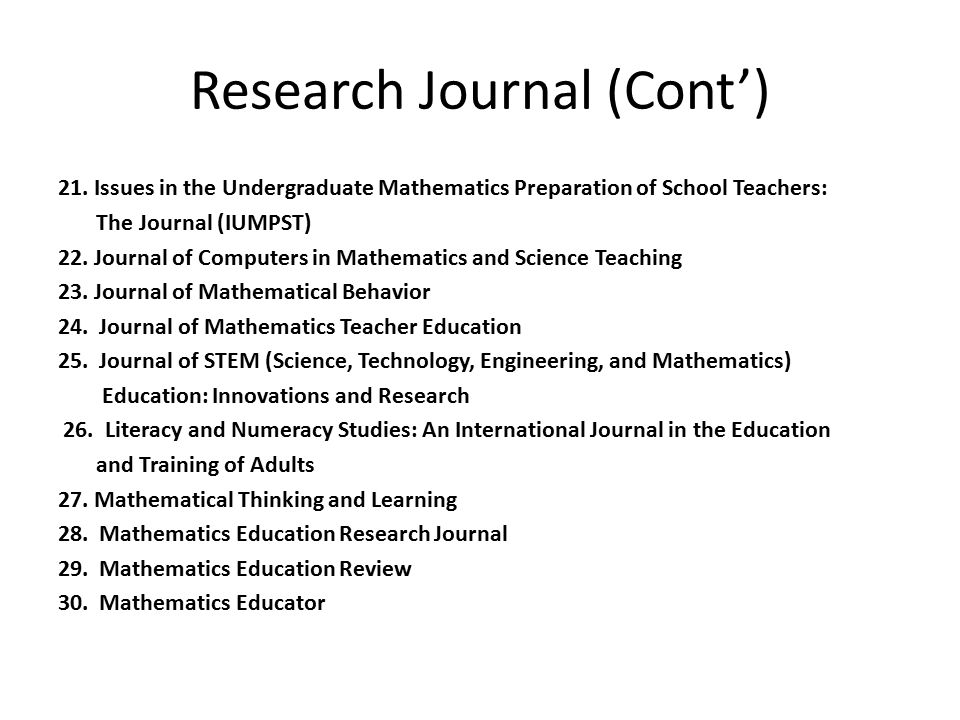 Research Journal (Cont') 21.Issues in the Undergraduate Mathematics Preparation of School Teachers: The Journal (IUMPST) 22. Journal of Computers in M