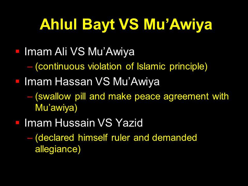 Ahlul Bayt VS Mu'Awiya  Imam Ali VS Mu'Awiya –(continuous violation of Islamic principle)  Imam Hassan VS Mu'Awiya –(swallow pill and make peace agr