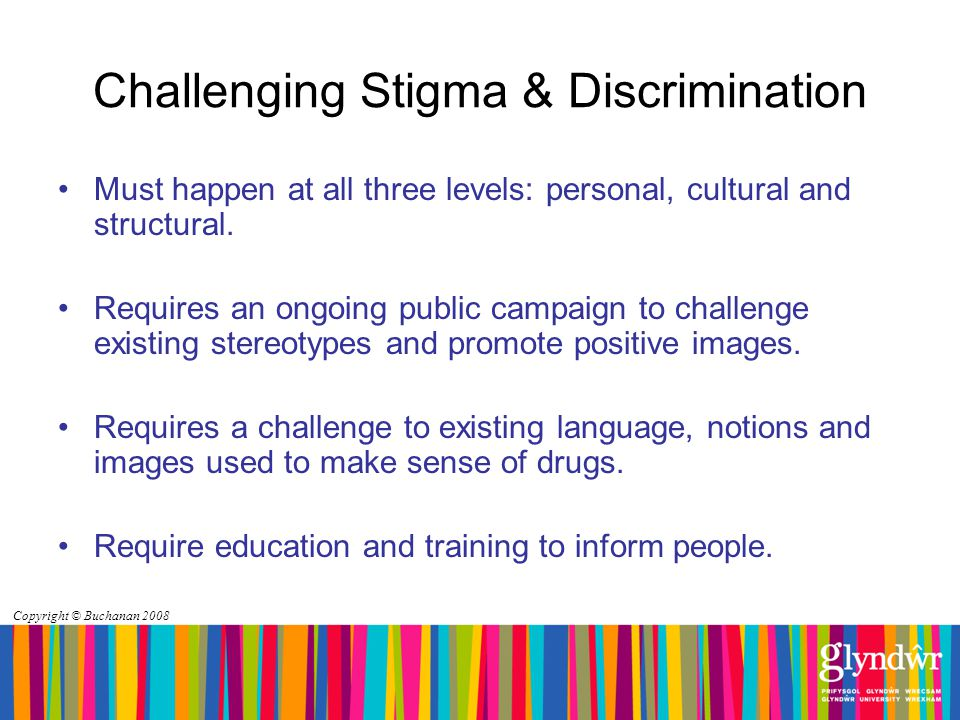 Copyright © Buchanan 2008 Challenging Stigma & Discrimination Must happen at all three levels: personal, cultural and structural.