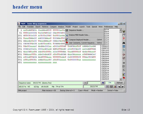 Copyright S.W. Rasmussen 1995 – 2004, all rights reserved Slide 13 header menu