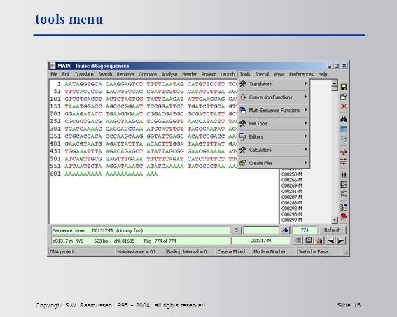 Copyright S.W. Rasmussen 1995 – 2004, all rights reserved Slide 16 tools menu