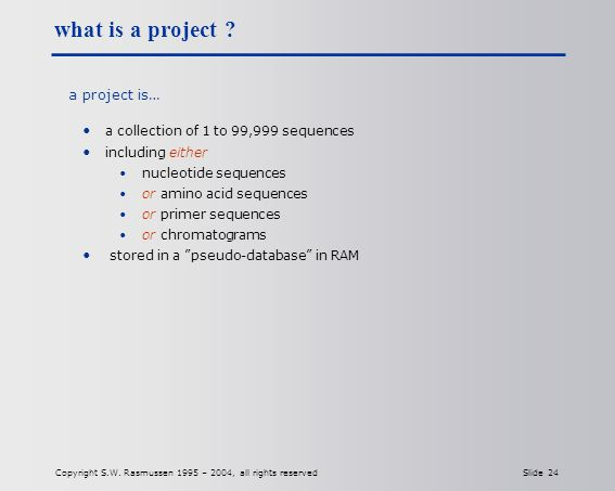 Copyright S.W. Rasmussen 1995 – 2004, all rights reserved Slide 24 what is a project .