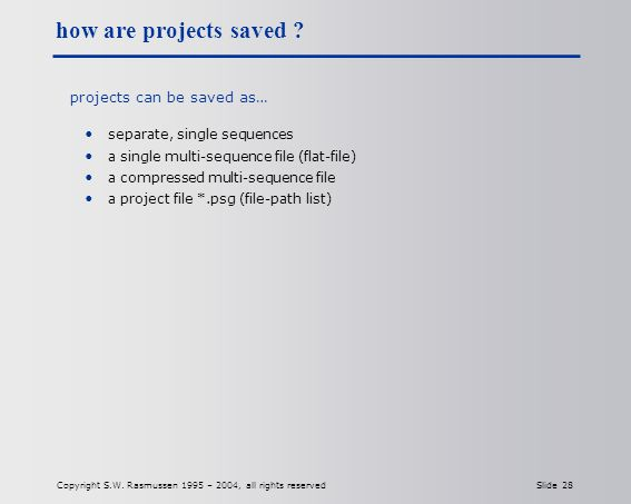 Copyright S.W. Rasmussen 1995 – 2004, all rights reserved Slide 28 how are projects saved .