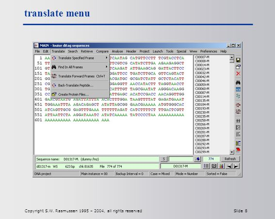 Copyright S.W. Rasmussen 1995 – 2004, all rights reserved Slide 8 translate menu