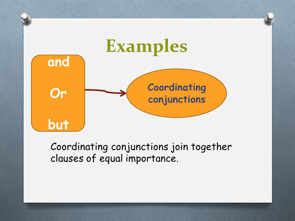 Examples Coordinating conjunctions join together clauses of equal importance. and Or but Coordinating conjunctions