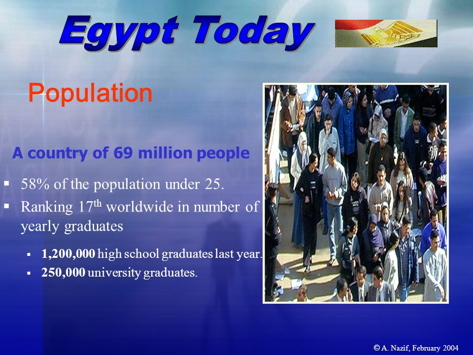 © A. Nazif, February 2004 A country of 69 million people  58% of the population under 25.