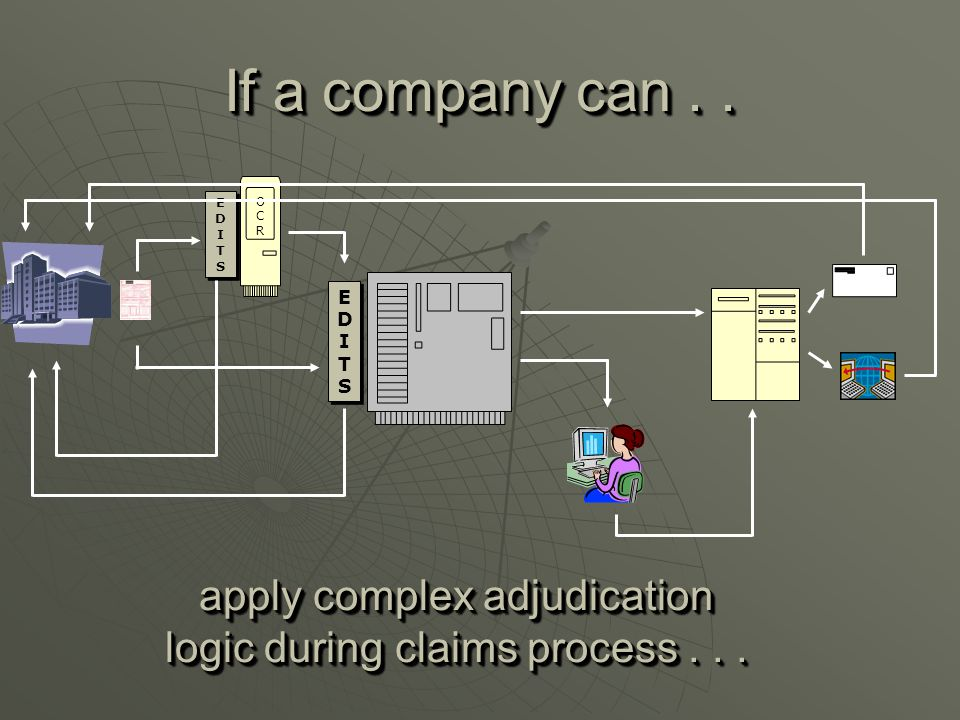 EDITSEDITS EDITSEDITS EDITSEDITS EDITSEDITS OCROCR If a company can.. apply complex adjudication logic during claims process...