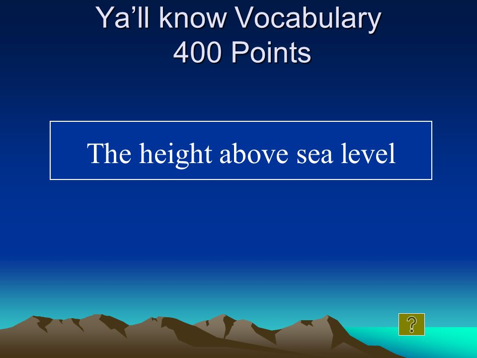 Ya'll know Vocabulary 300 Points What is a fault