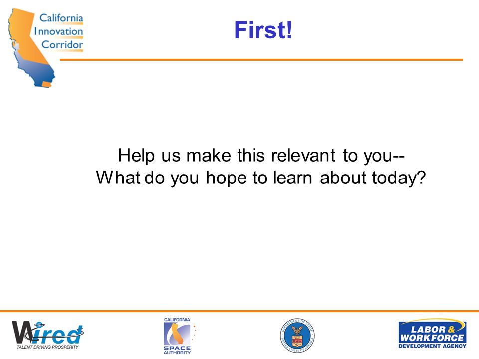 First! Help us make this relevant to you-- What do you hope to learn about today?
