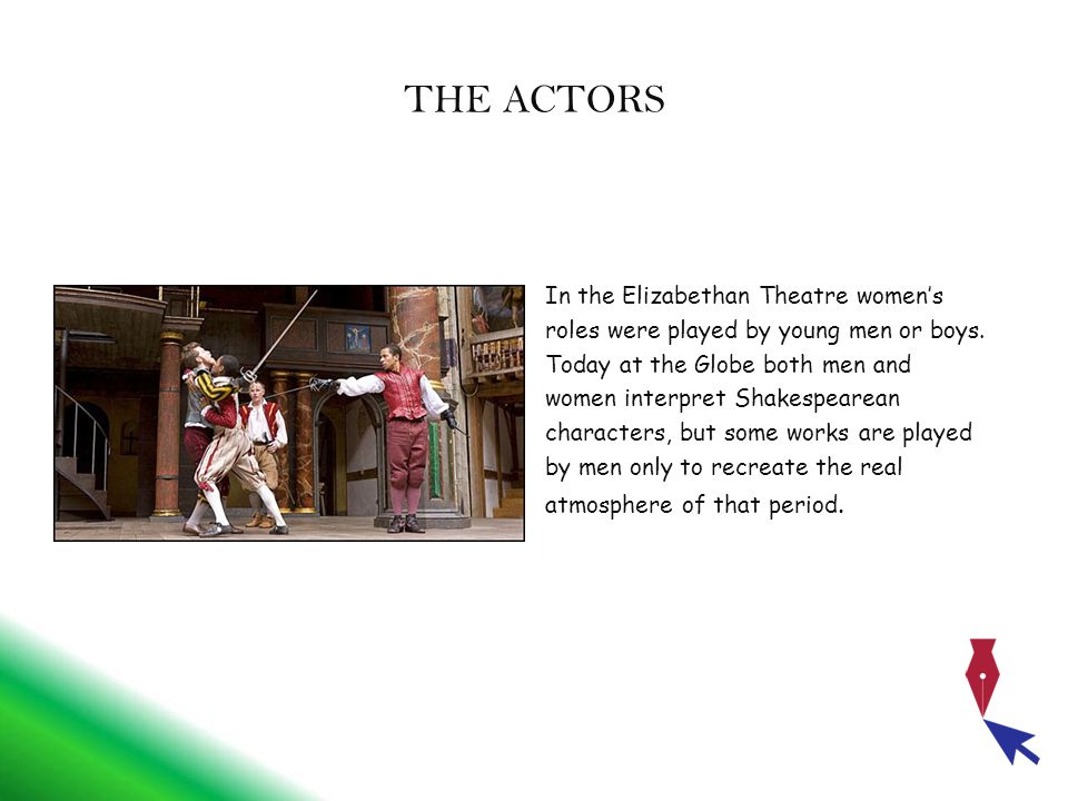 THE ACTORS In the Elizabethan Theatre women's roles were played by young men or boys.