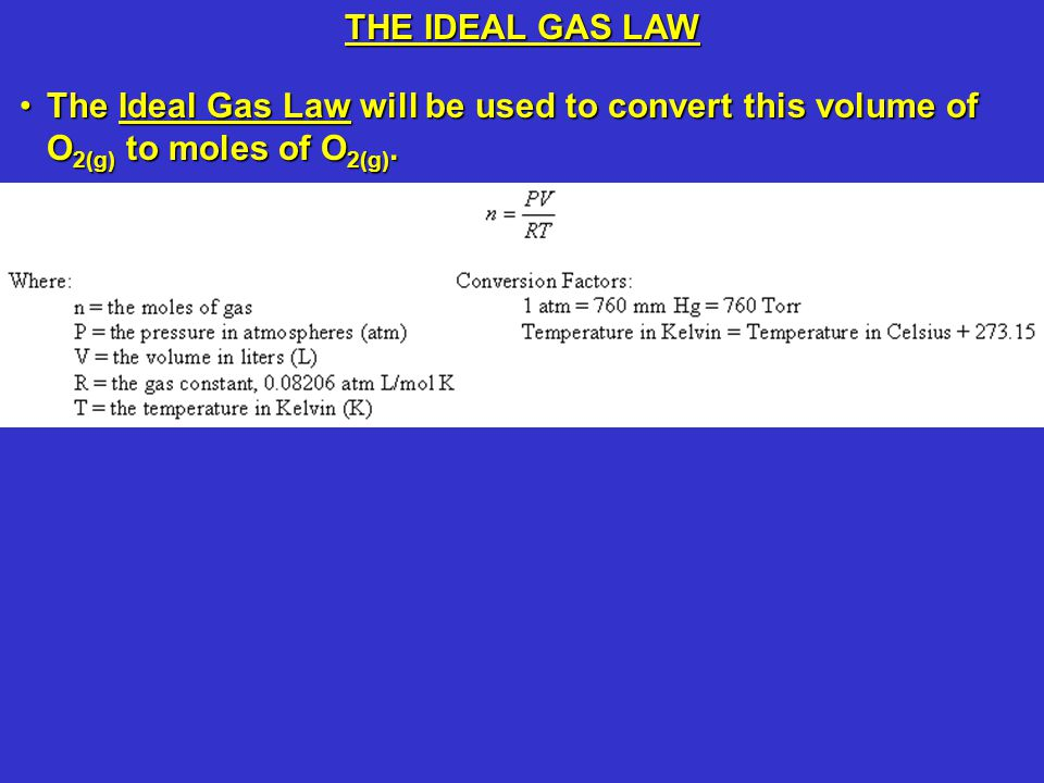 THE IDEAL GAS LAW The pressure of an ideal gas is 745 mm Hg (745 Torr).
