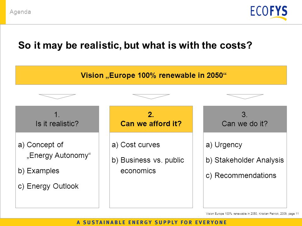 Vision Europe 100% renewable in 2050, Kristian Petrick, 2009, page 11 So it may be realistic, but what is with the costs.
