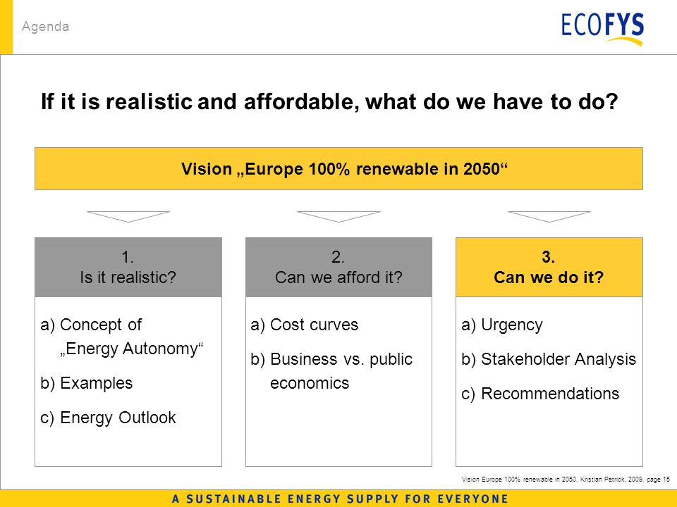 Vision Europe 100% renewable in 2050, Kristian Petrick, 2009, page 15 If it is realistic and affordable, what do we have to do.