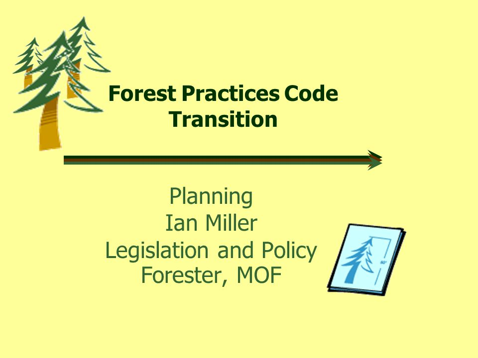 Forest Practices Code Transition Planning Ian Miller Legislation and Policy Forester, MOF