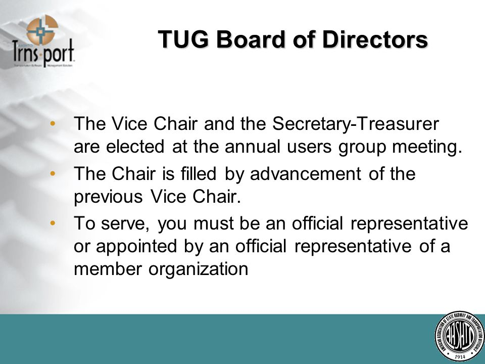 The Chair is filled by advancement of the previous Vice Chair.