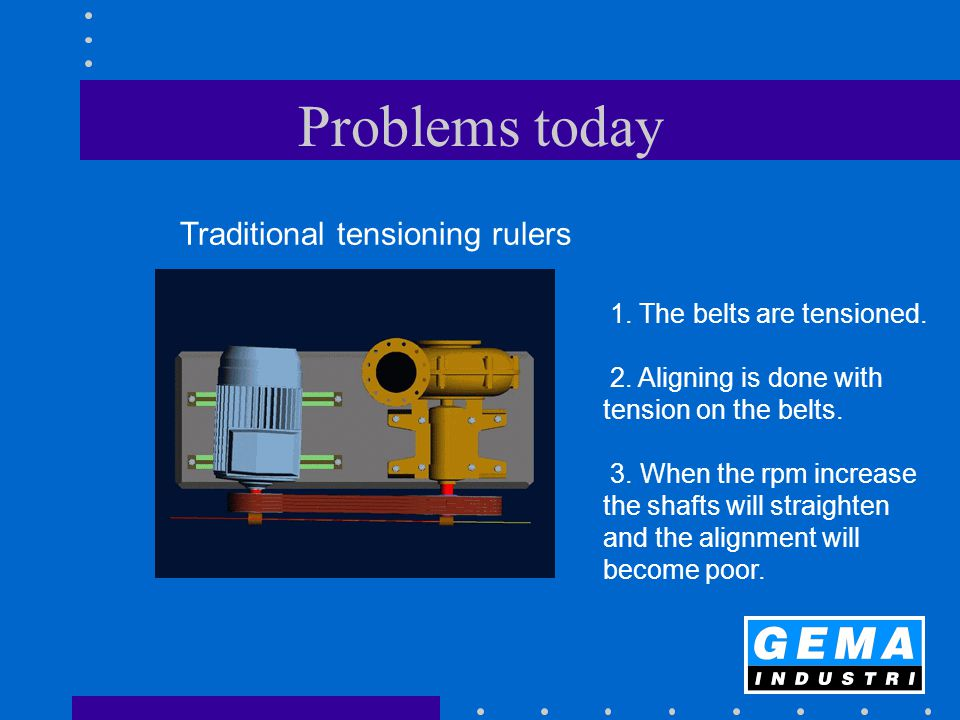 Problems today 1. The belts are tensioned. 2. Aligning is done with tension on the belts. 3. When the rpm increase the shafts will straighten and the