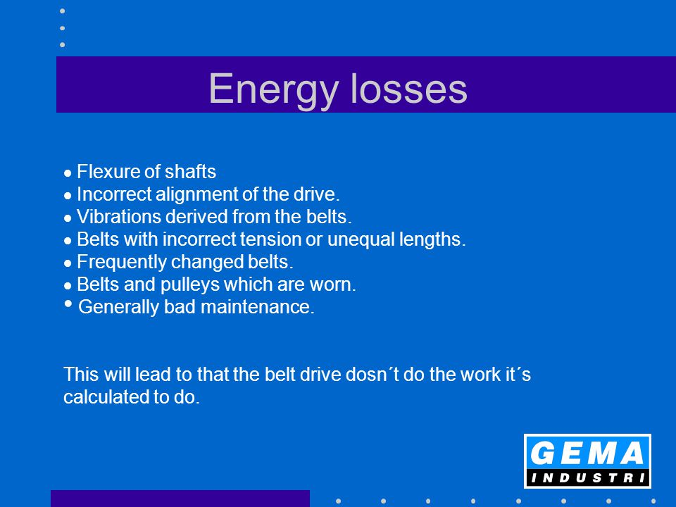 Energy losses  Flexure of shafts  Incorrect alignment of the drive.  Vibrations derived from the belts.  Belts with incorrect tension or unequal l