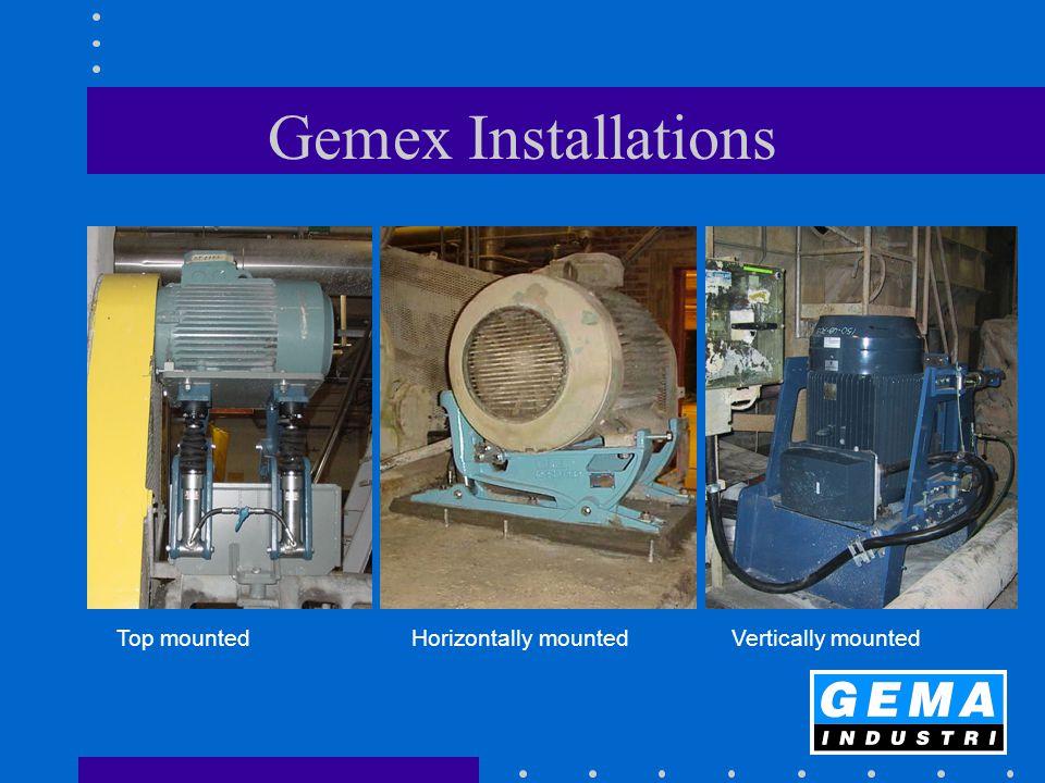 Gemex Installations Top mountedHorizontally mounted Vertically mounted