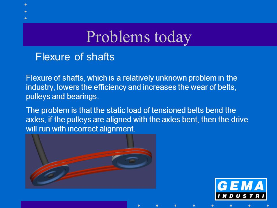 Problems today Flexure of shafts Flexure of shafts, which is a relatively unknown problem in the industry, lowers the efficiency and increases the wea