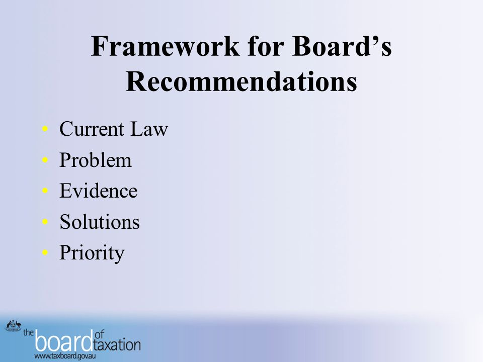 Framework for Board's Recommendations Current Law Problem Evidence Solutions Priority