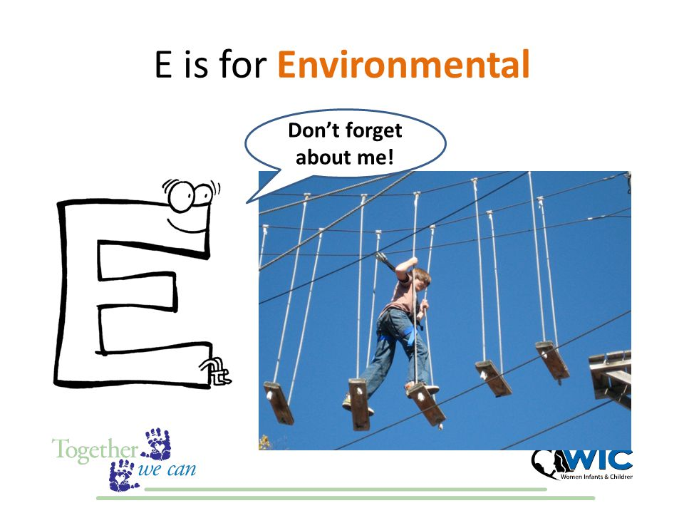 E is for Environmental Don't forget about me!