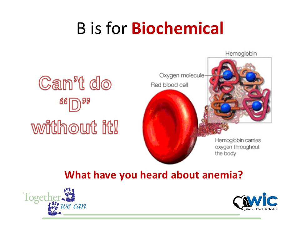 B is for Biochemical What have you heard about anemia
