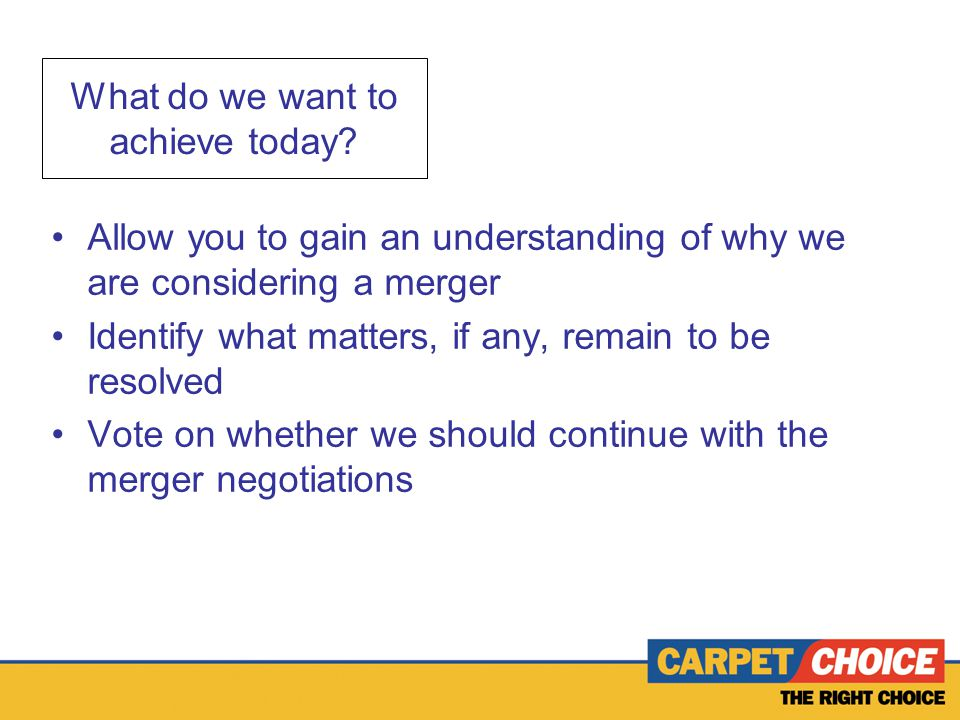 What do we want to achieve today.