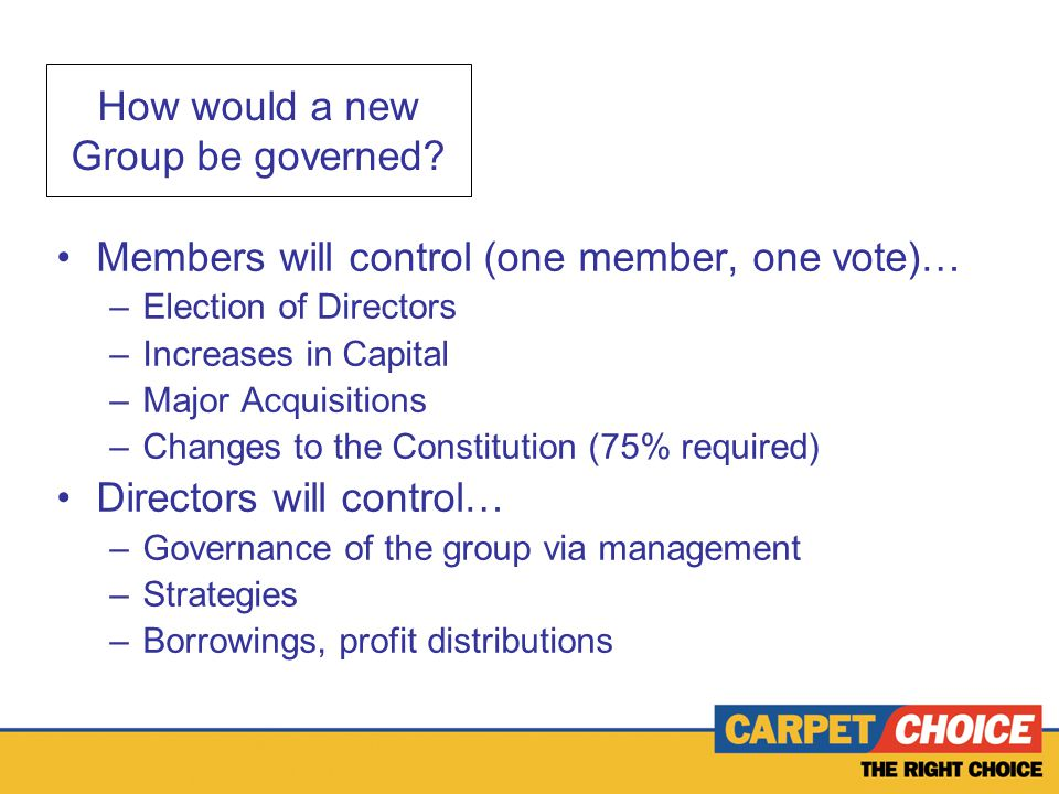How would a new Group be governed.