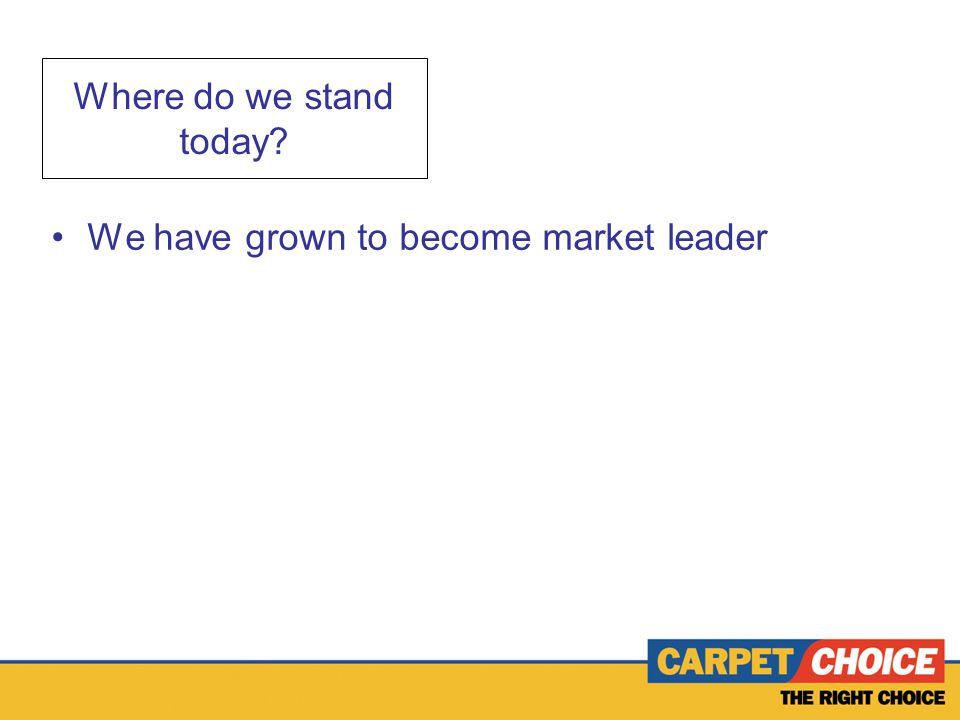 Where do we stand today We have grown to become market leader