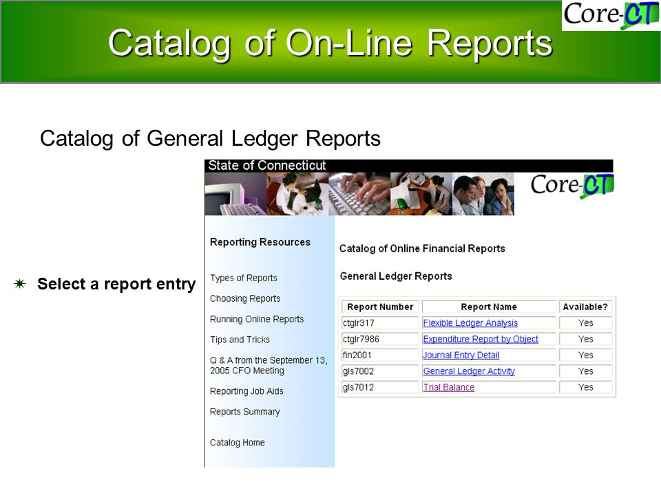 Catalog of On-Line Reports  Select a report entry Catalog of General Ledger Reports Catalog of On-Line Reports