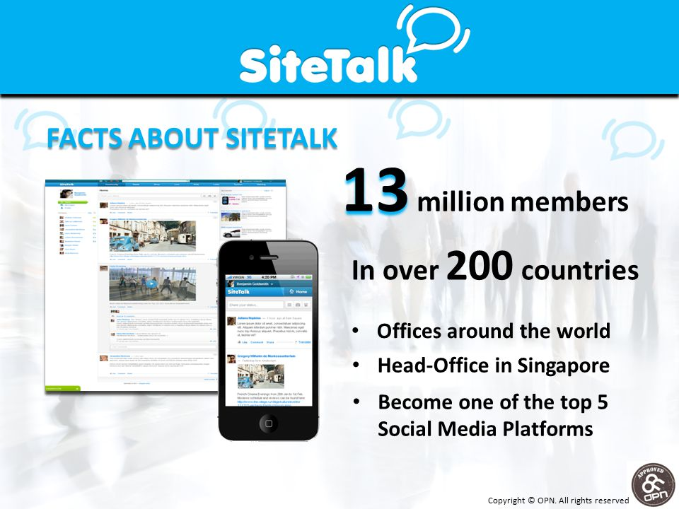 13 13 million members In over 200 countries FACTS ABOUT SITETALK Offices around the world Head-Office in Singapore Become one of the top 5 Social Media Platforms Copyright © OPN.