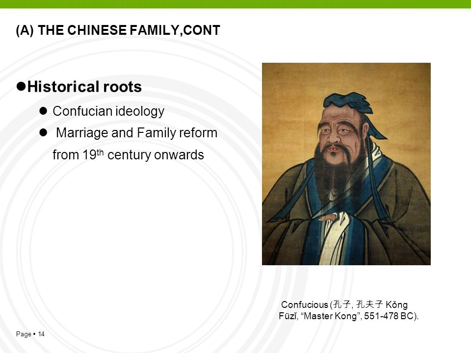 Page  14 (A) THE CHINESE FAMILY,CONT Historical roots Confucian ideology Marriage and Family reform from 19 th century onwards Confucious ( 孔子, 孔夫子 Kǒng Fūzǐ, Master Kong , 551-478 BC).